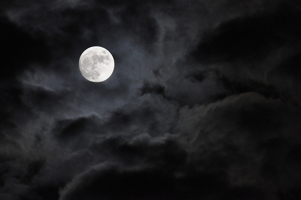 Cloud wrapped moon over Kalamazoo, MI